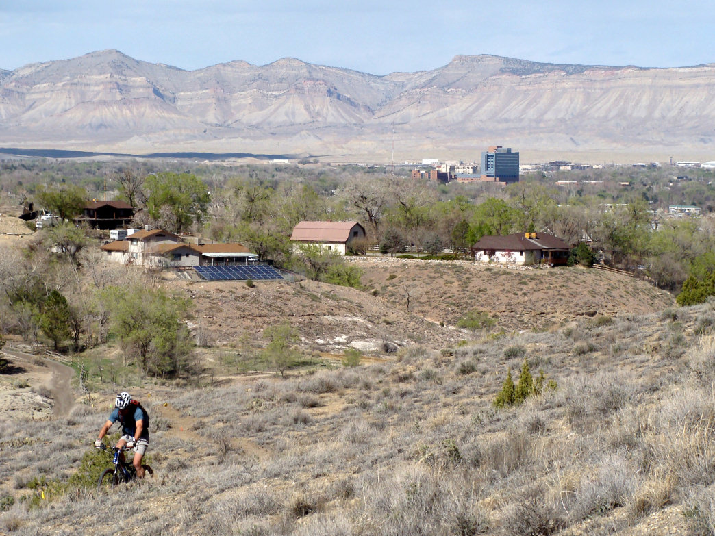 The Lunch Loop Trails are shared with mountain bikers and offer incredible views of the Grand Valley.