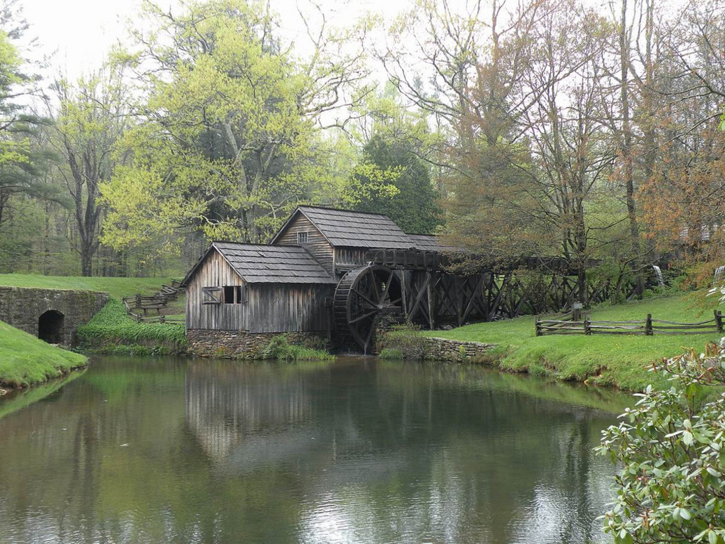 The idyllic and historic grounds of Mabry Mill on the Blue Ridge Parkway.