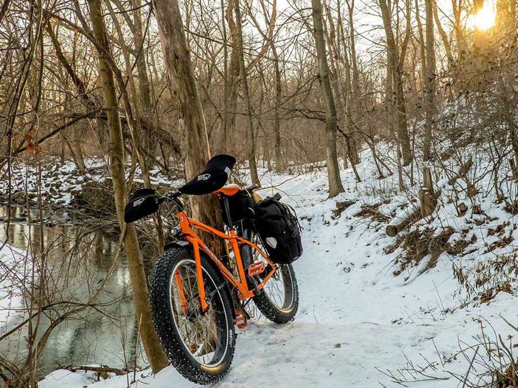 In the winter, snowy trails virtually beckon for a fat tire bike.