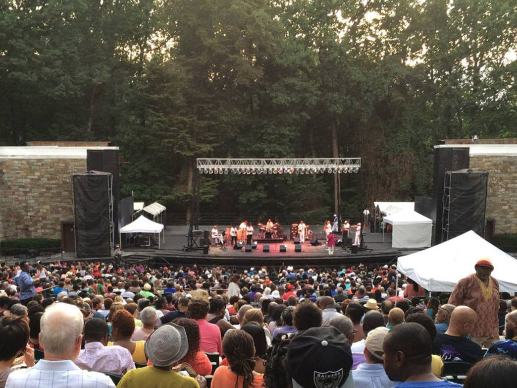 Outdoor blues concert at Rock Creek's famed amphitheater.