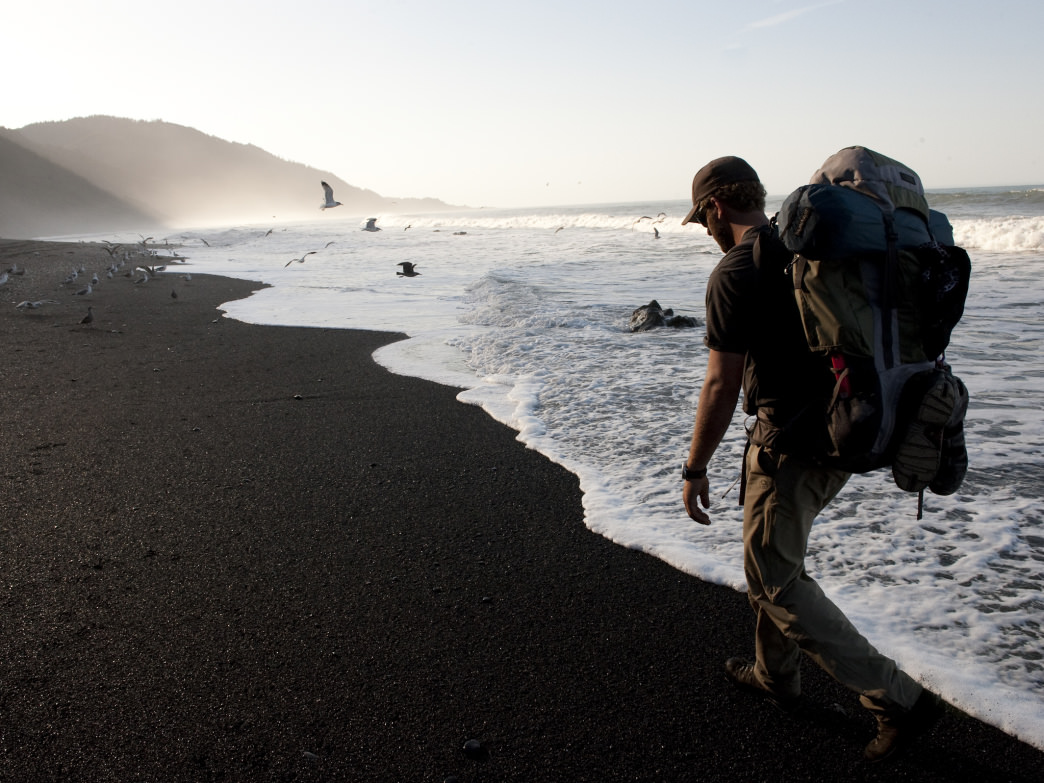 Alone along the sand and surf of California's Lost Coast.