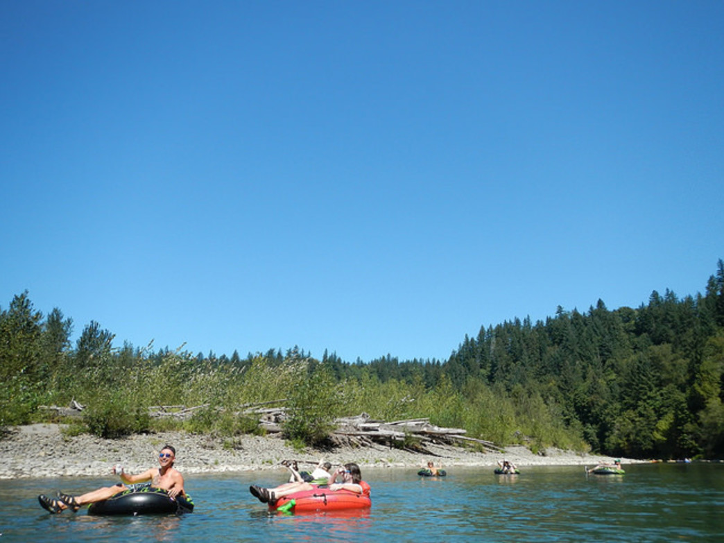 The Sandy River is a popular float destination, given its bucolic setting and relatively close proximity to Portland.