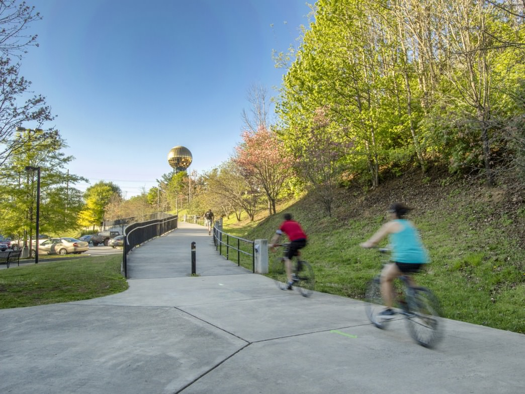 Commuting to work can less stressful and traffic-free if you hop on your bike and ride along one of Knoxville's Greenways .