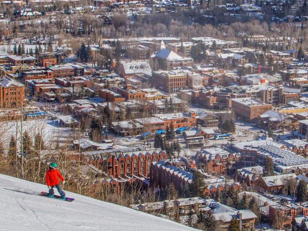 The steep runs of the World Cup course drop right into Aspen.