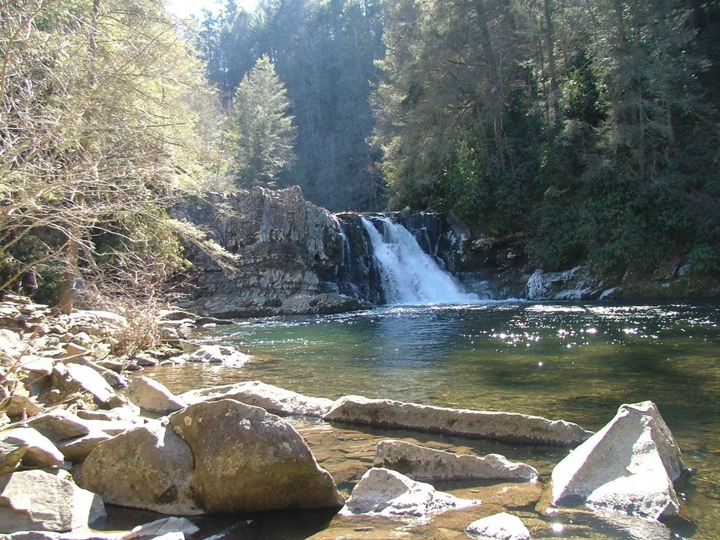 You can access the Abrams Falls Trail while staying at the Cades Cove campground near Knoxville.