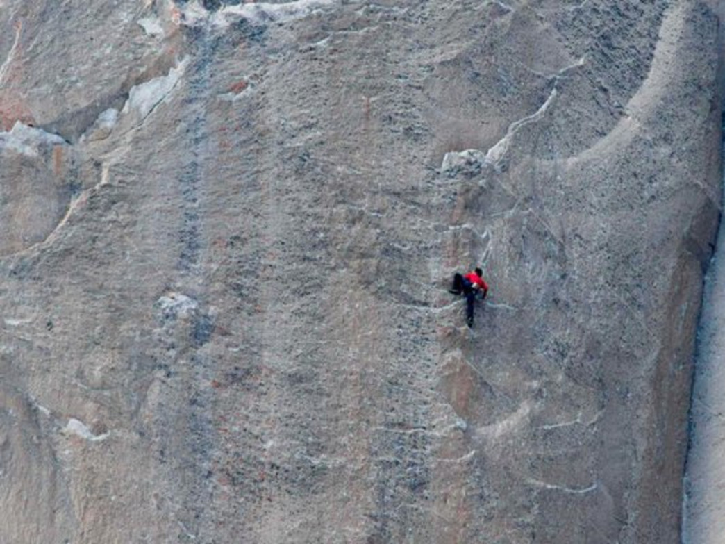 The climbers move up the notoriously difficult Dawn Wall.