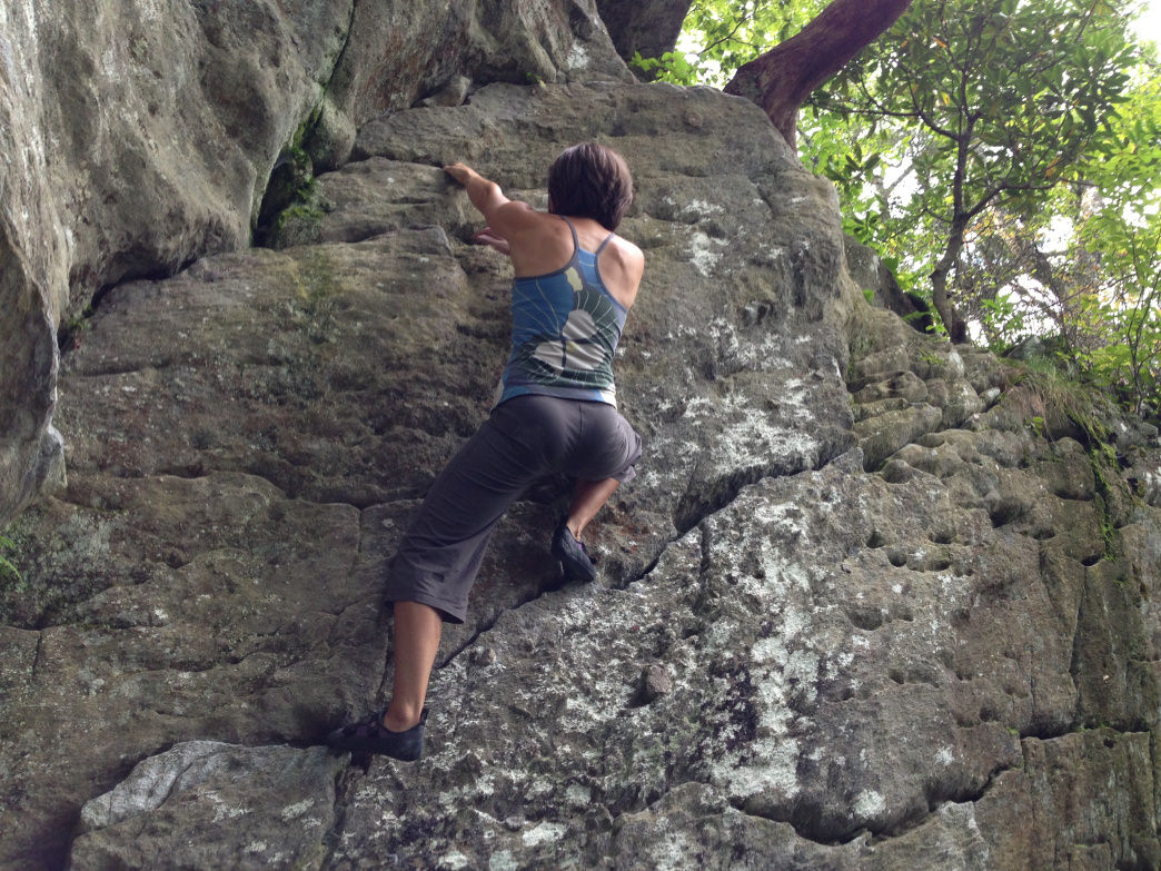 Warming up on the Grandmother Boulders in Boone.