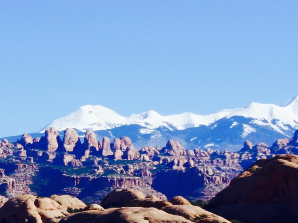Moab's snowy backdrop