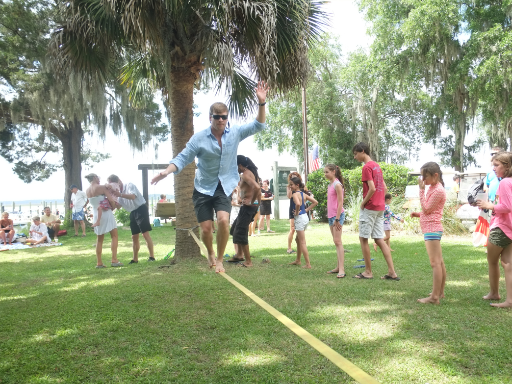 Slacklining on Daufuskie Island on Memorial Day weekend