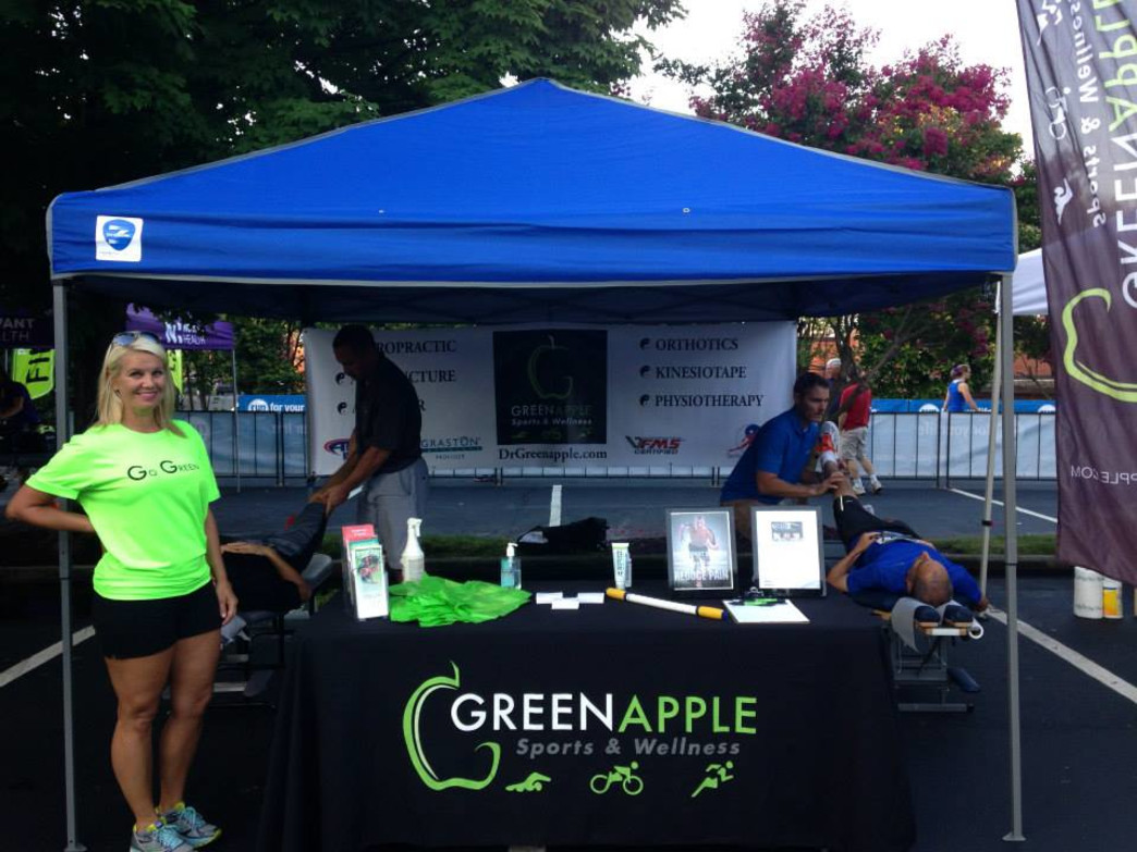 Greenapple Sports and Wellness are on site helping runners stay injury free