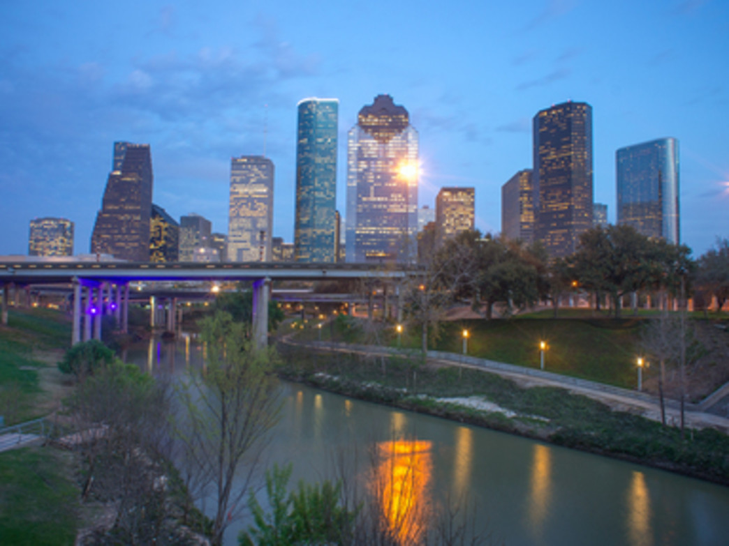 The Houston skyline and the Buffalo Bayou.