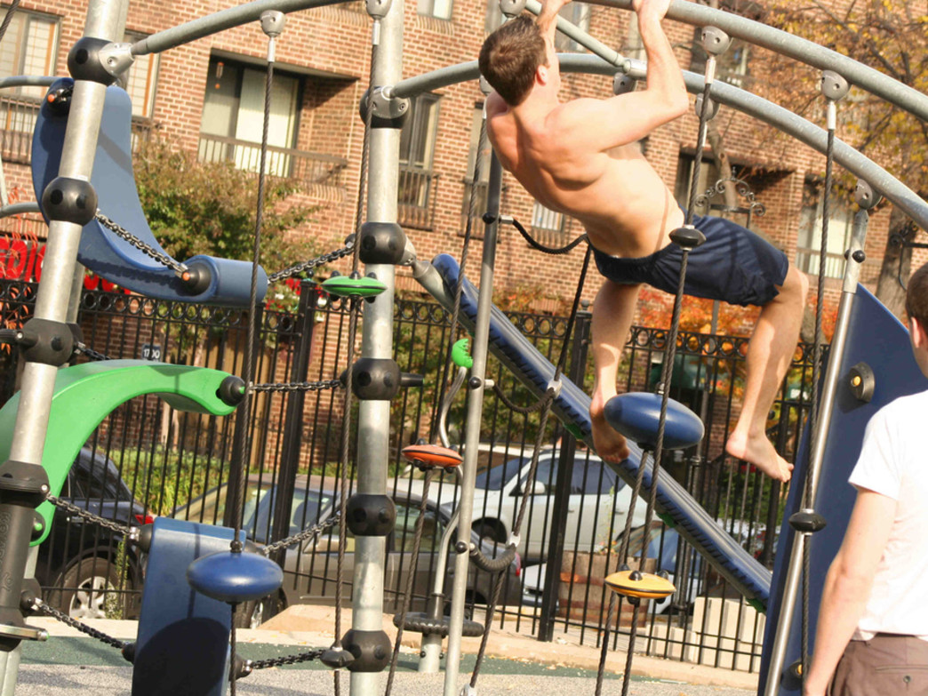 Hit the monkey bars for a unique outdoor workout.