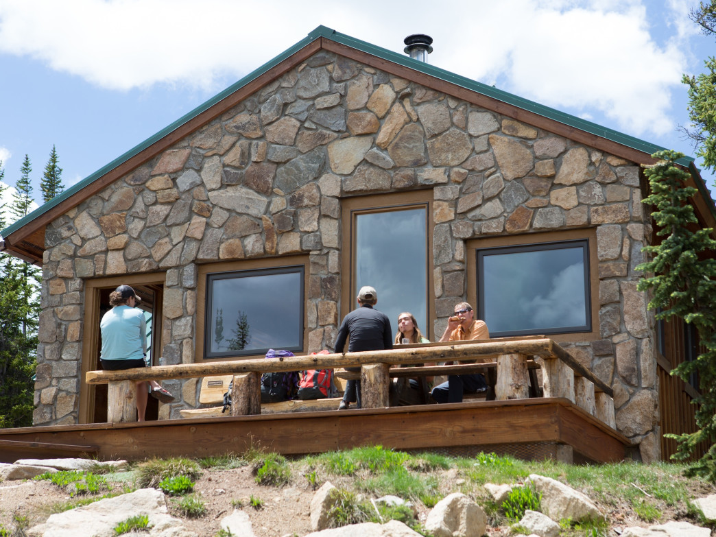 Each hut's design is unique. This is the Skinner Hut, at 11,620 feet near Leadville.