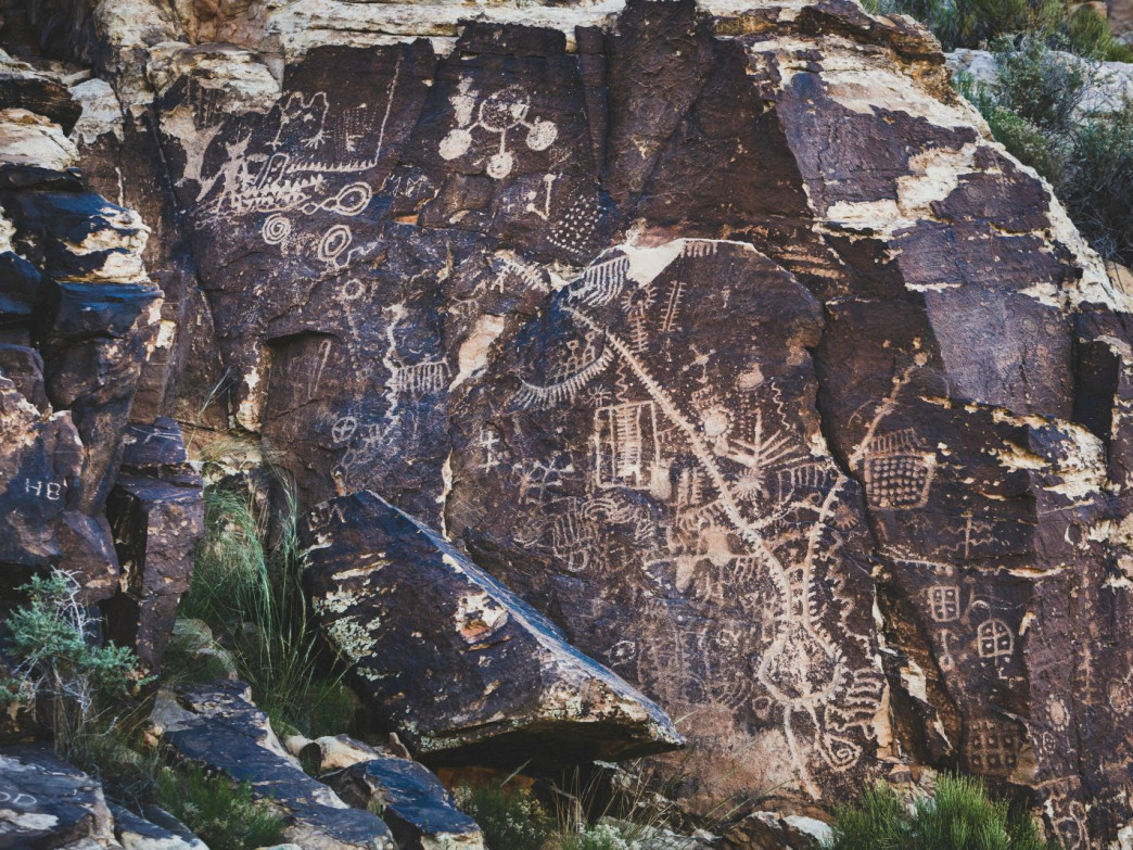 Petroglyphs seen at the Parowan Gap west of Parowan, Utah