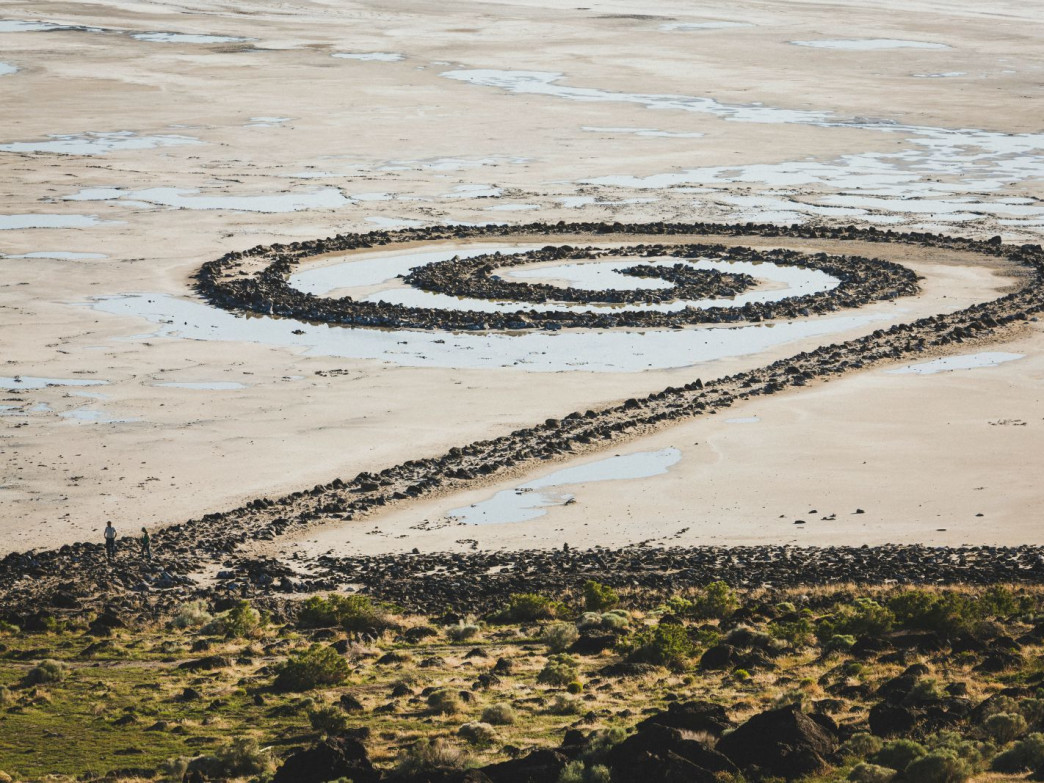 Looking down on the Spiral Jetty, Rozel Point, Utah