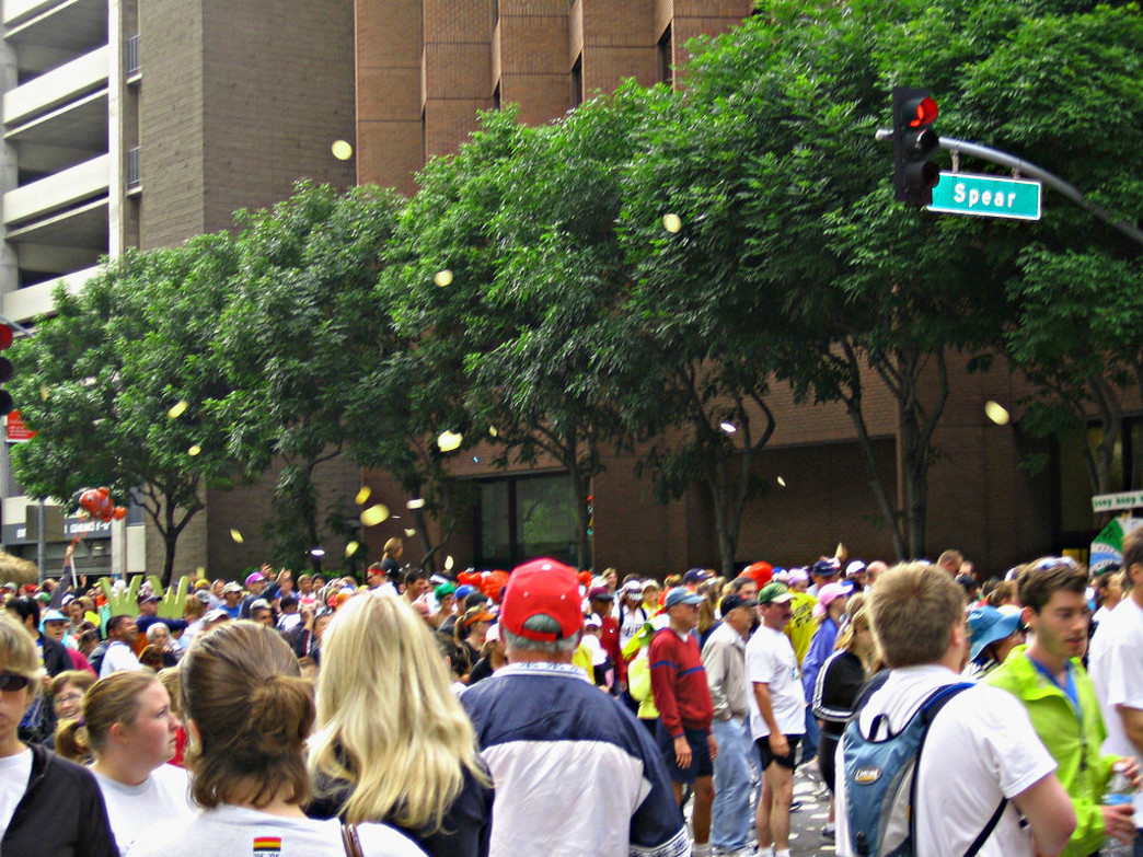 Tortillas fly through the air at the start of the Bay to Breakers.