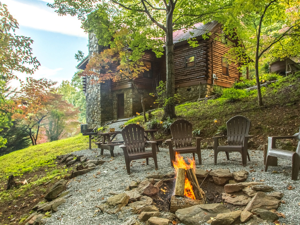 Wind down around the campfire after an adventurous girls' weekend at a cabin from Smoky Mountain Getaways.