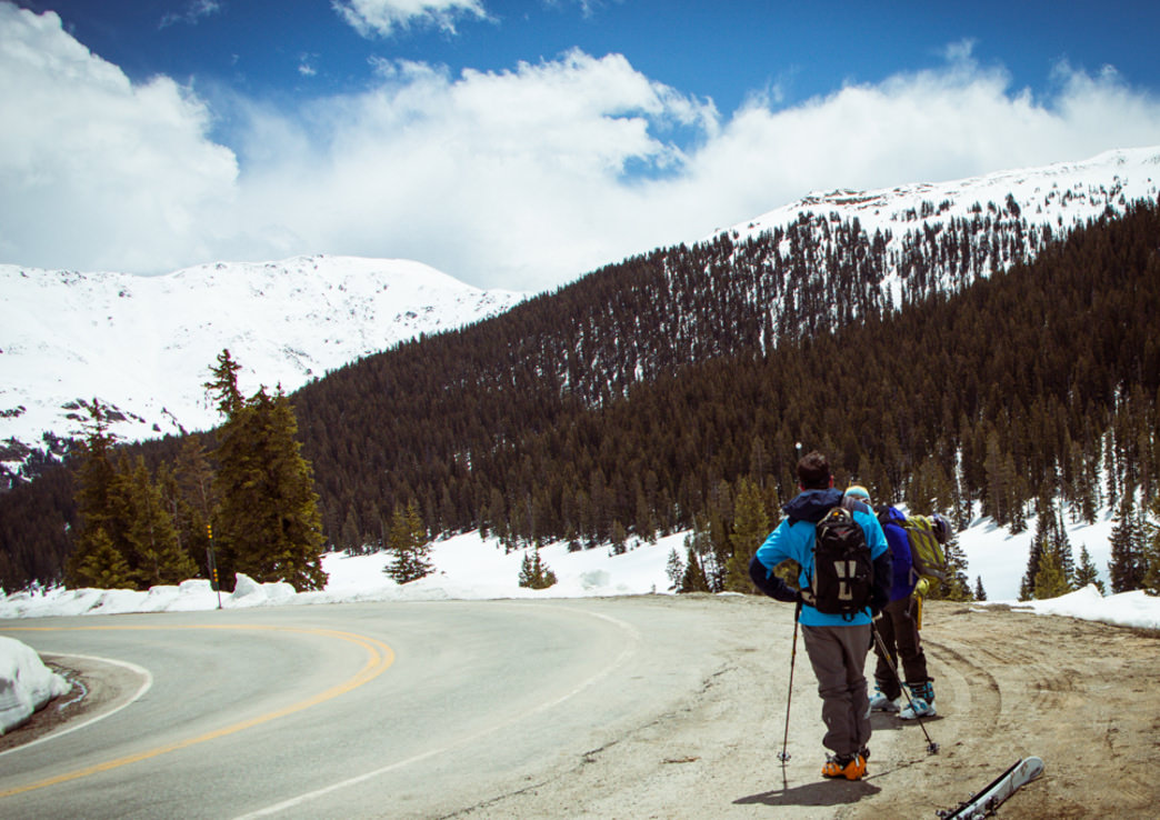 Its not surprising to see skiers hitching a ride back to the top of Independence Pass for another lap.