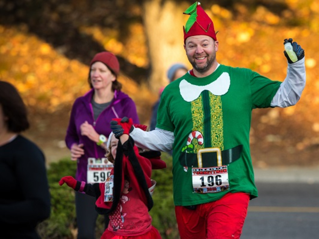 Turkeython attracts both serious runners looking to score PRs on easy 5k and 10k courses, as well as more causal runners who get into the holiday spirit.