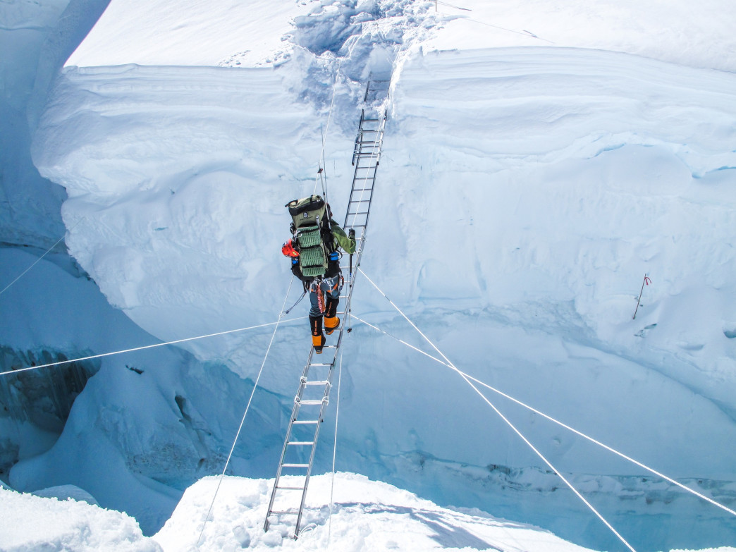 In October 2010, Larsen became the first person to do all three poles in a 365-day period, climbing Everest in October after reaching the North Pole on skis in April and the South Pole in January.