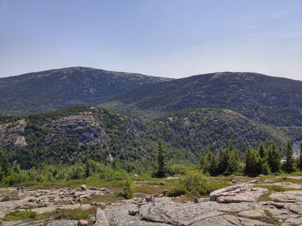 View of Cadillac Mountain and Pemetic Mountain from Sargent.
