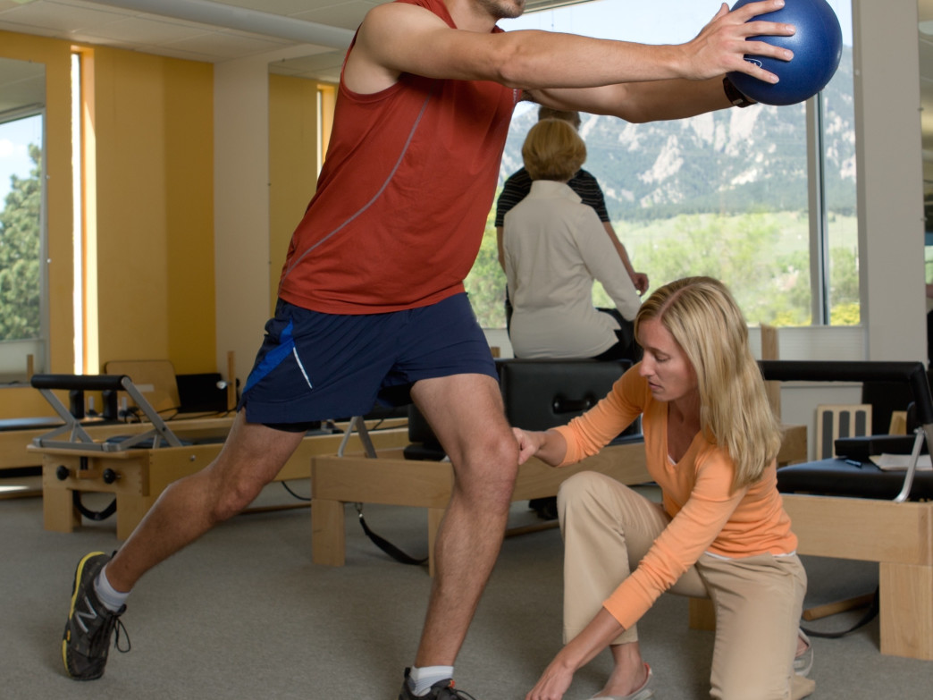 A physical therapist will monitor you closely to ensure proper alignment.