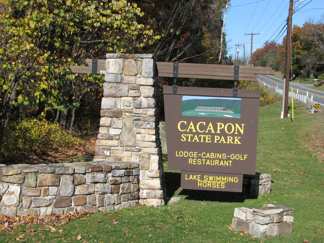 Cacapon Resort State Park is roughly 50 miles west of Harpers Ferry in Berkeley Springs.
