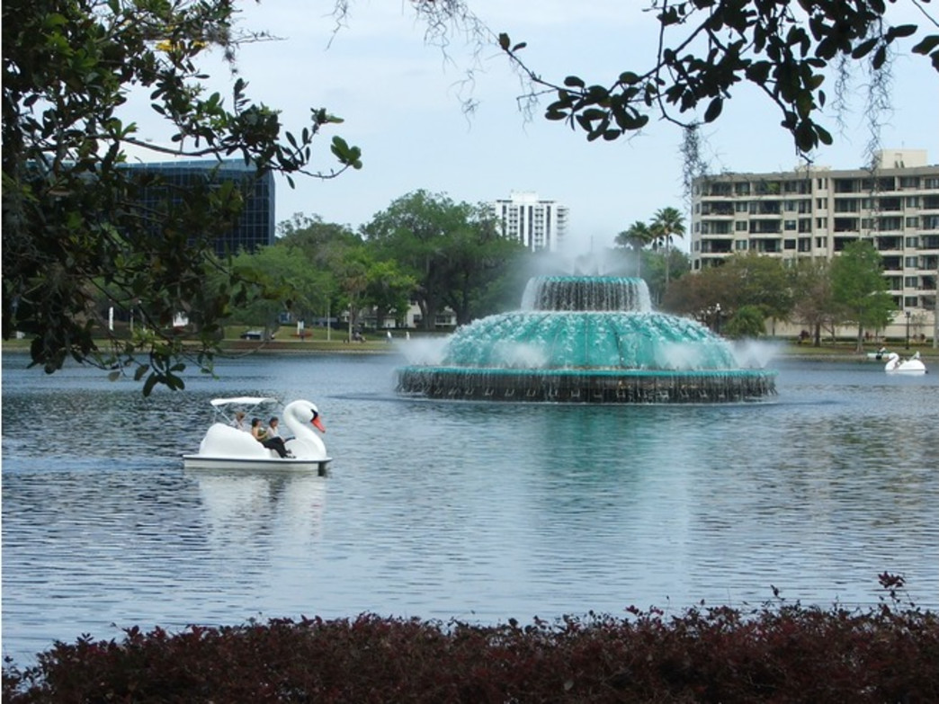 Paddling swan boats on Lake Eola