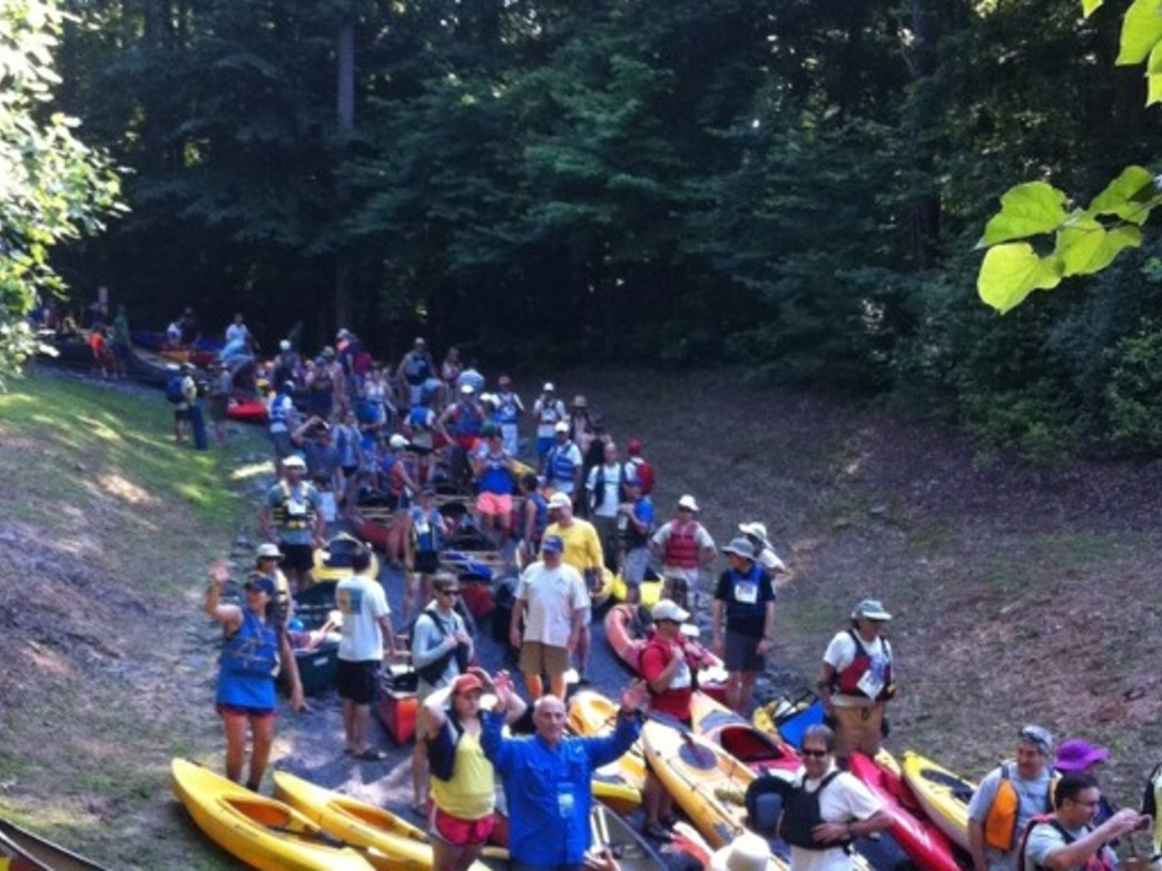 Paddlers getting in the water at the Back to the Chattahoochee Race