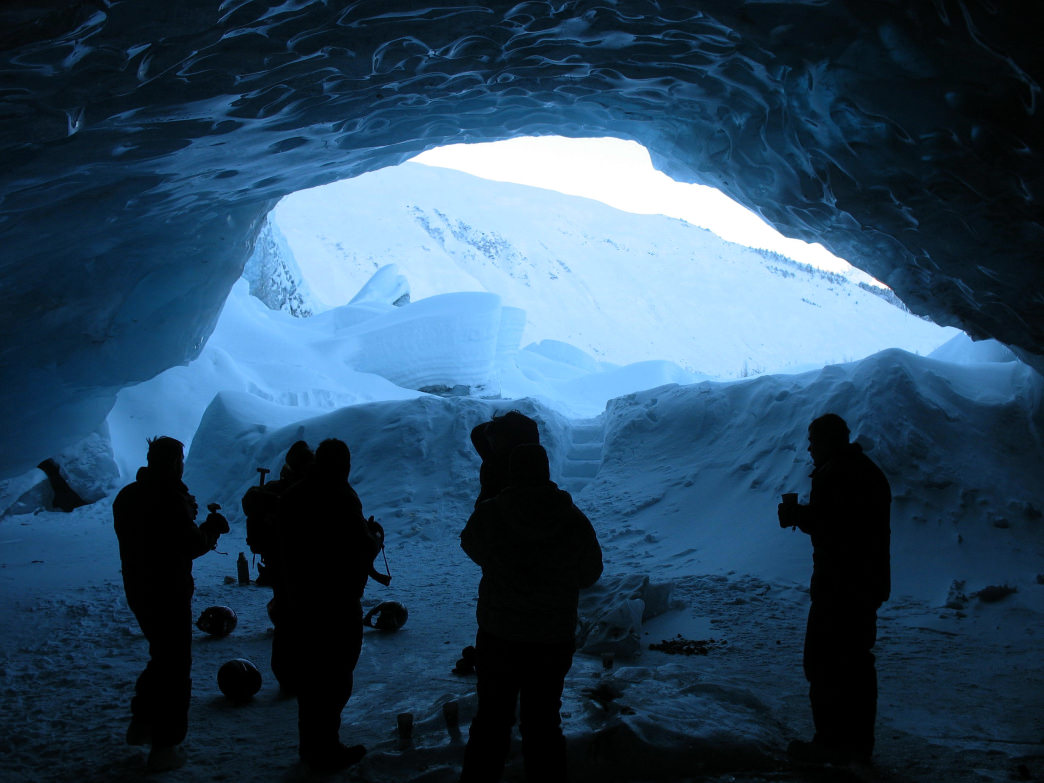 Exploring an ice cave outside of Girdwood, Alaska.