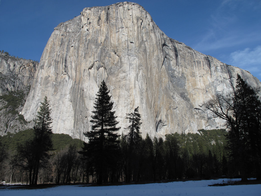 El Capitan, with a blanket of snow in the meadow.