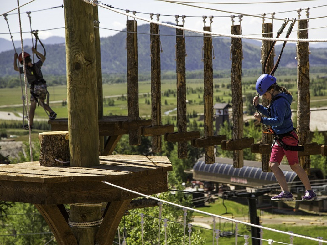 Try your hand at JHMR's Aerial Adventure Course, located 25 feet up in the air.