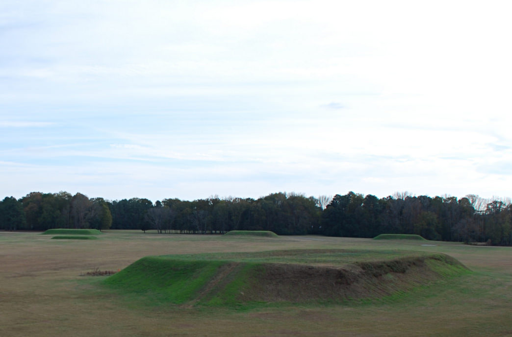 More than two dozen earthen mounds dot the park landscape.     Max Wolfe