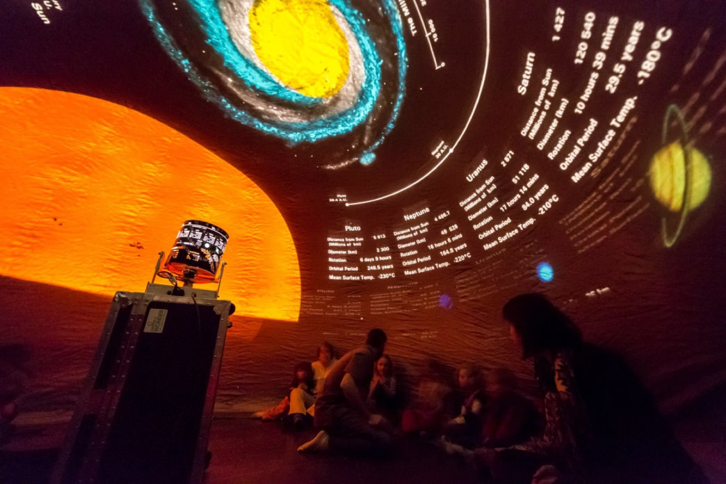 Sit in Wyoming Stargazing's inflatable planetarium to learn all about the night sky.