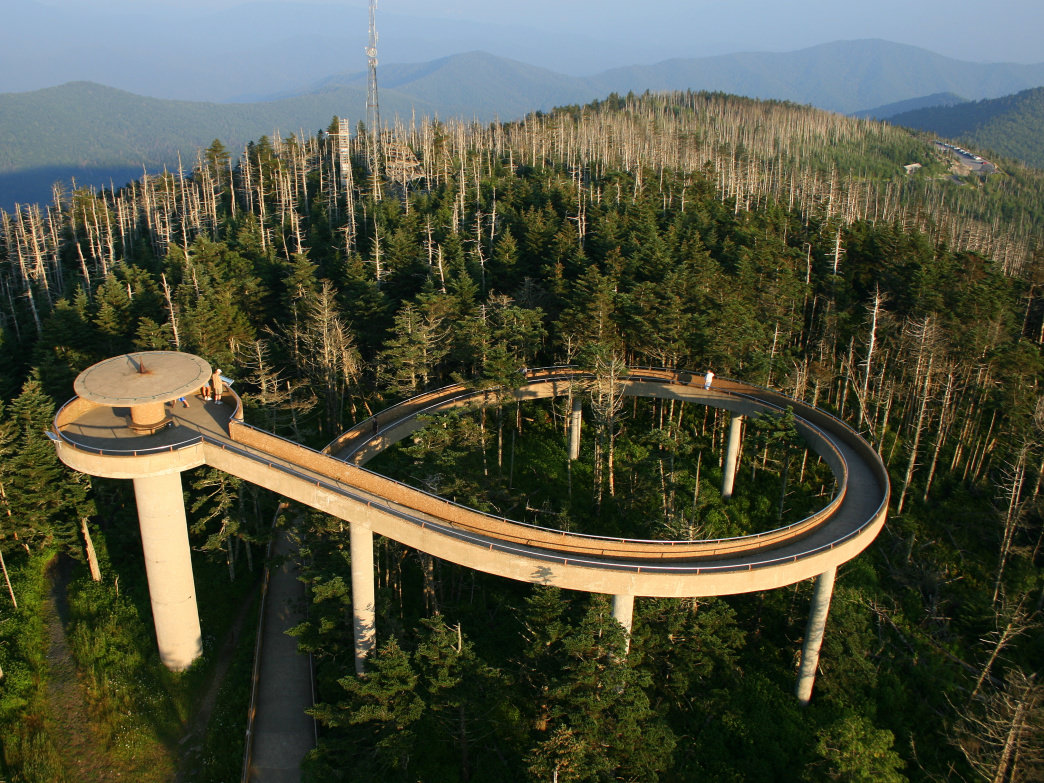 The tower at Clingmans Dome is the high point of the Appalachian Trail.