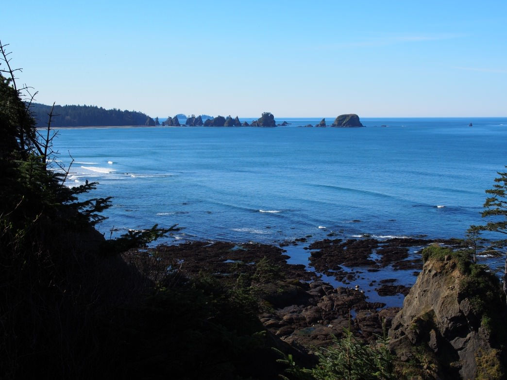View from Shi Shi Beach hike of Point of Arches in Olympic National Park.