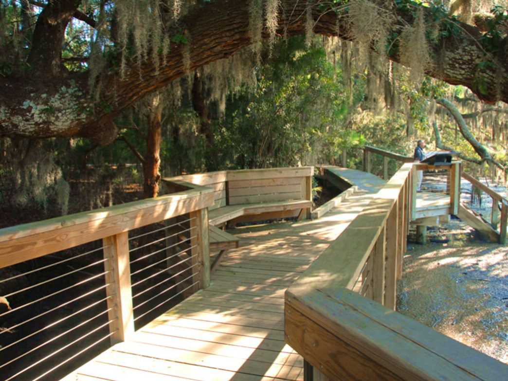 A portion of boardwalk over saltwater marsh