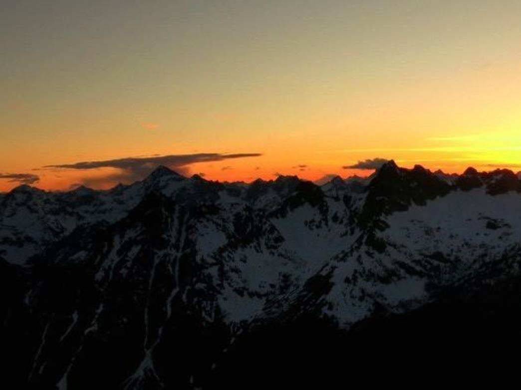 The setting sun over the North Cascades.