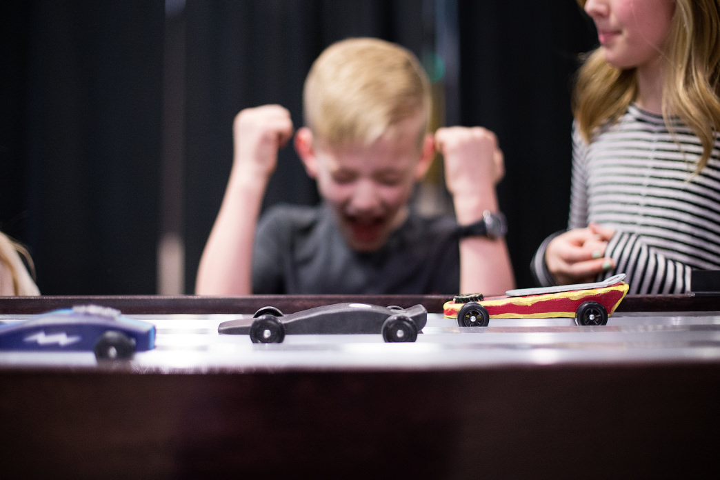 The STEAM Studio (Science, Technology, Engineering, Arts, and Math) includes the DG Derby exhibit, which teaches some of the basic elements of physics using pinewood derby cars. Discovery Gateway Museum