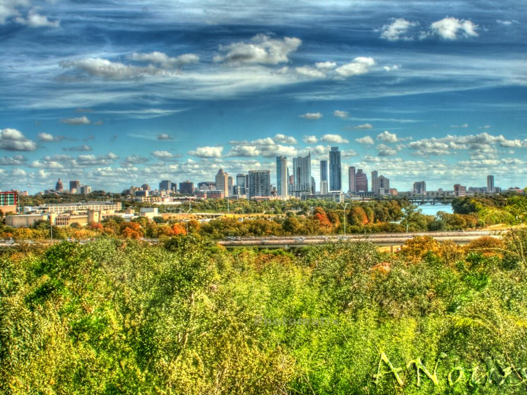 The Austin skyline in the fall.