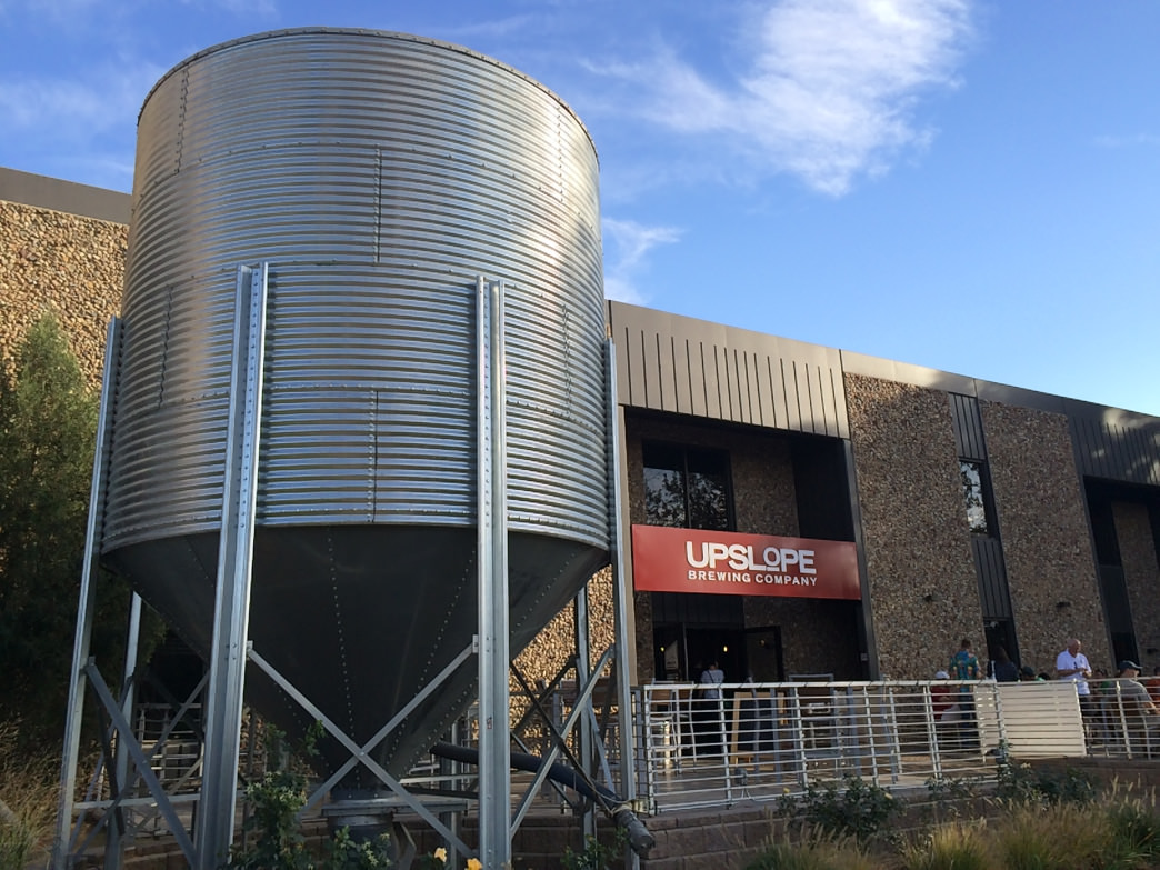 The huge metal beer tank outside of Upslope is hard to miss.