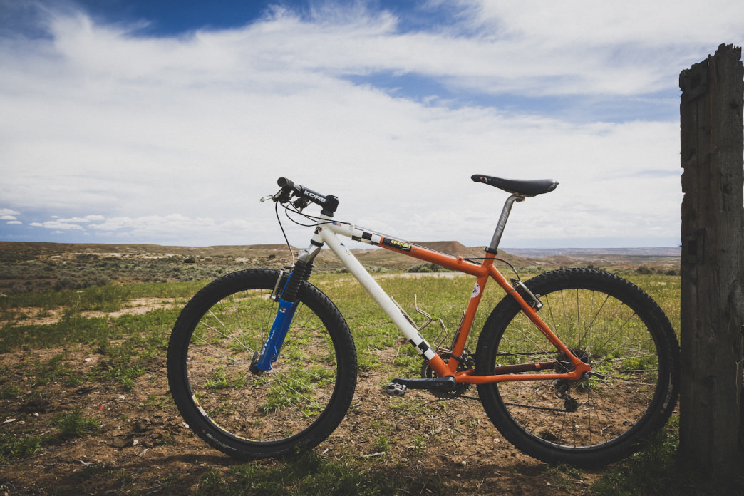 A mountain bike stands at the corral at the trailhead of McCoy Flats, Vernal, Utah.