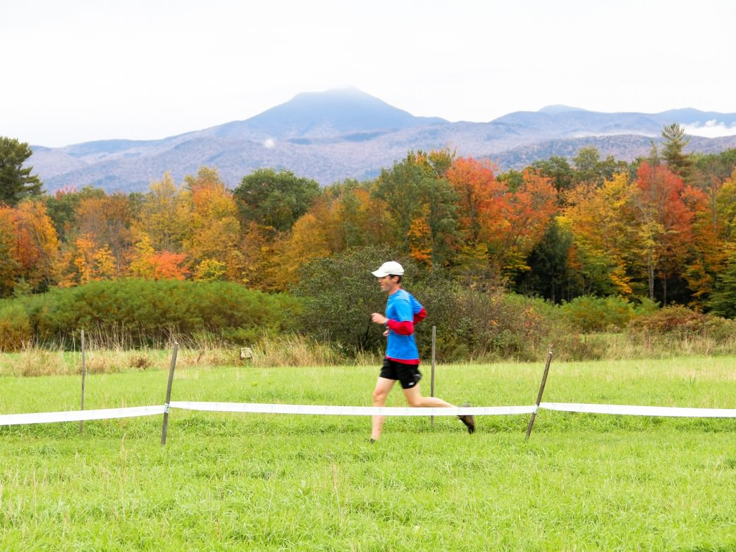 A runner hitting the trails at the Catamount Outdoor Family Center