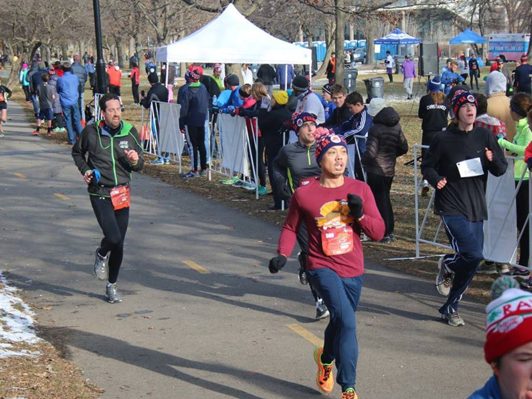 The Flying Turkey 5K features a course that runs through the Northwestern campus in Evanston.