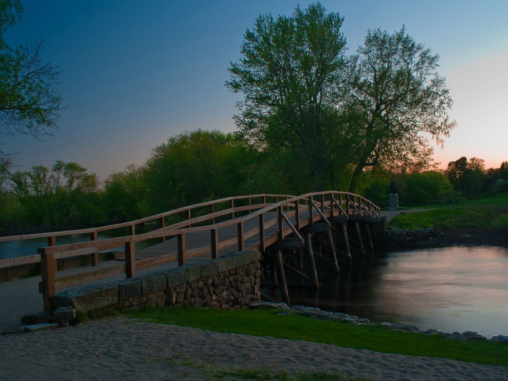 One of the many historic sites along the Lexington Loop is the Old North Bridge in Concord, MA.