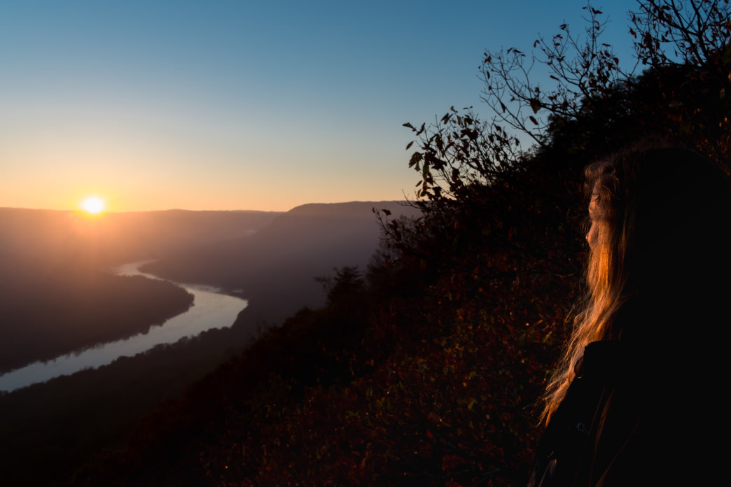 Sunrise from Snooper's Rock above the Tennessee River Gorge.