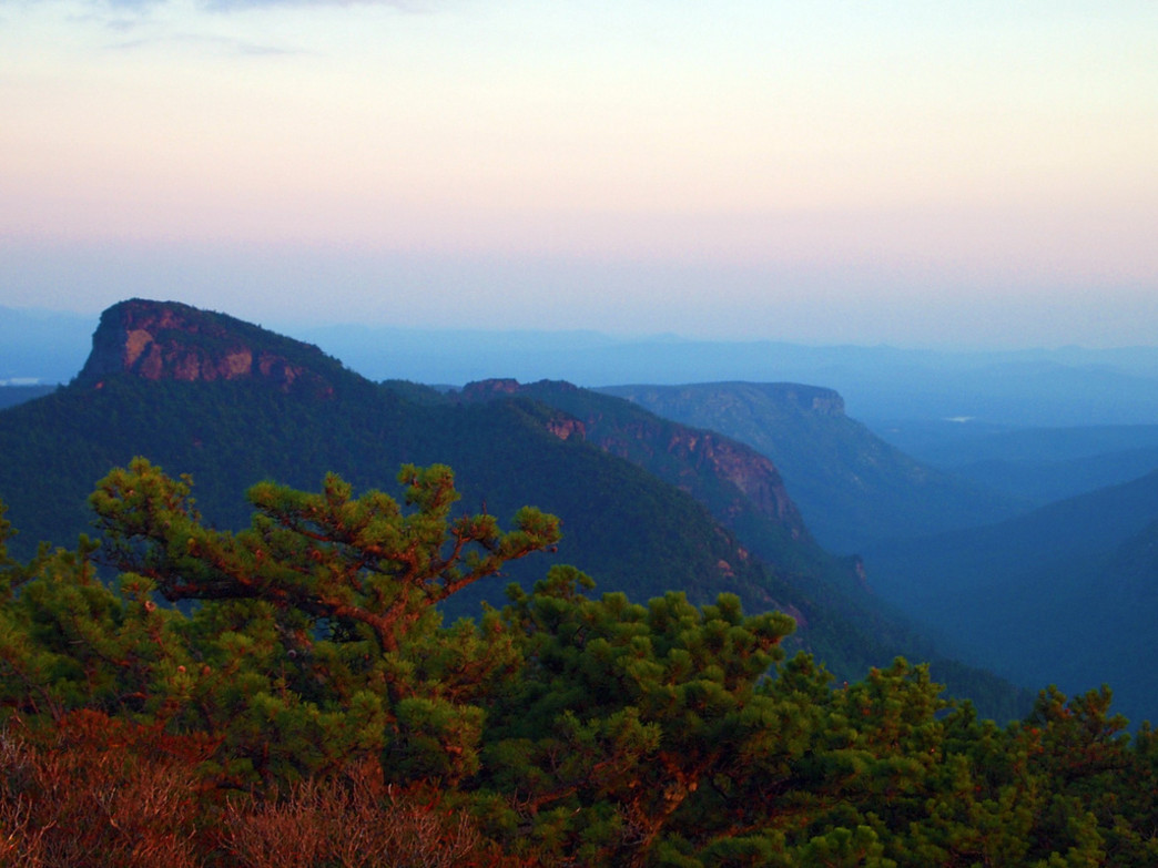 A view of Table Rock in Linville Gorge