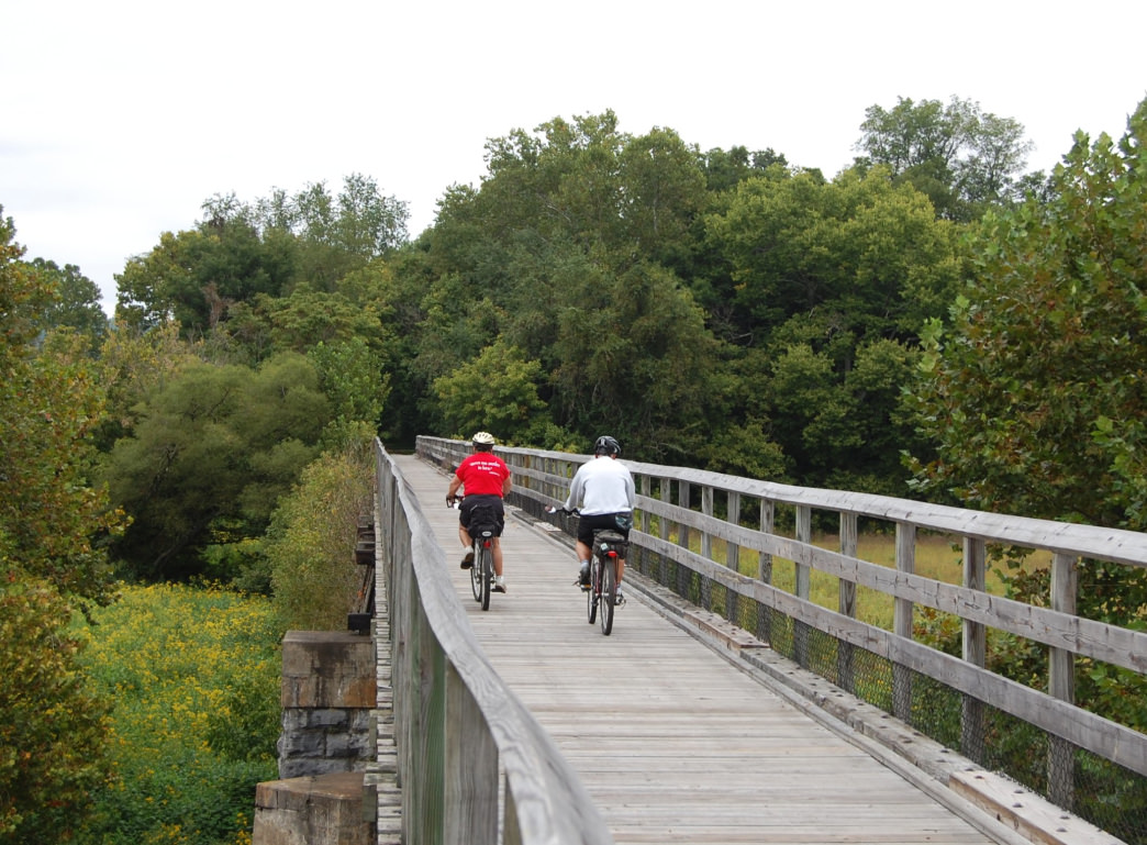 The 57-mile New River Trail is another of the region's top options for cyclists.