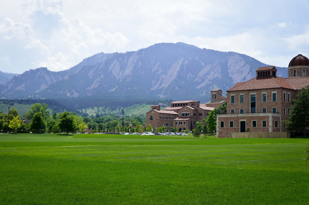 CU's campus has excellent views of the Flatirons.