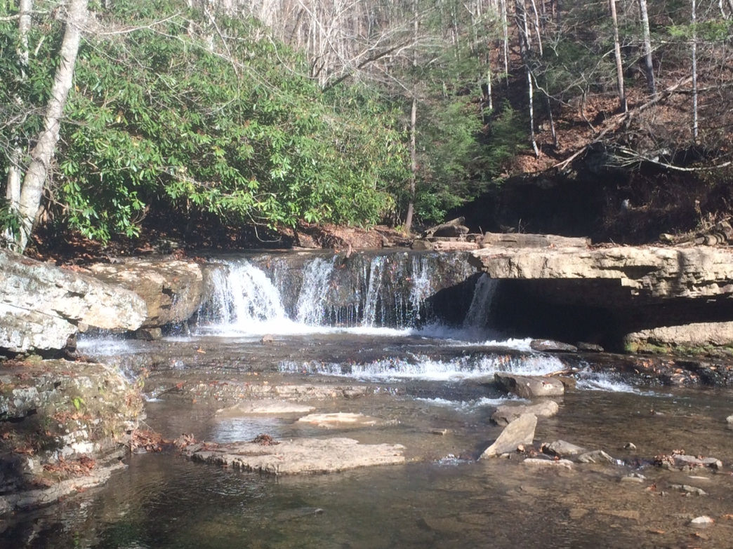 Water tumbles down the picturesque falls on the Mash Fork Creek.